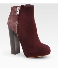 B Brian Atwood Paramour Suede and Snake-print Leather Ankle Boots - Lyst