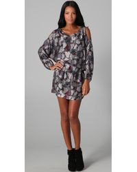 Beyond Vintage Cutout Shoulder Long Sleeve Dress - Lyst