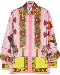 Versace Barocco Printed Silk-twill Shirt multicolor - Lyst