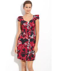 Ak Anne Klein Puff Sleeve Print Dress - Lyst
