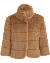 Barneys New York Short Faux Fur Jacket - Lyst