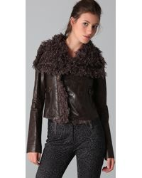 Georgie - Faux Leather Mayra Jacket with Faux Fur Collar - Lyst