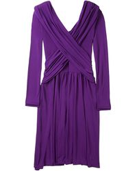 Halston Heritage Purple Drape Front Wrap Dress - Lyst