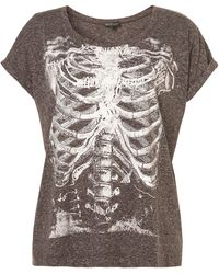 Topshop Rib Cage Motif Tee - Lyst