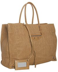 Balenciaga Brown Crosshatched Leather Papier Tote - Lyst