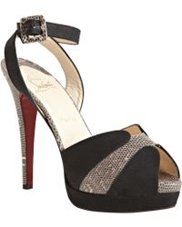 Christian Louboutin Black Canvas and Lizard Skin Double Moc 140 Ankle Wrap Heels - Lyst