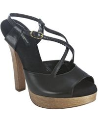 Dolce & Gabbana Black Leather Peep Toe Wooden Platform Sandals - Lyst