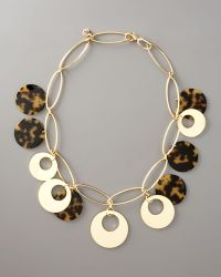Tory Burch Gold & Resin Necklace - Lyst