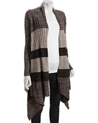 Autumn Cashmere Brown Ribbed Cashmere Colorblock Draped Cardigan - Lyst
