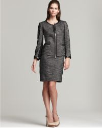 DKNY -  Sleeveless Tweed Dress with Ponte Knit Insets - Lyst