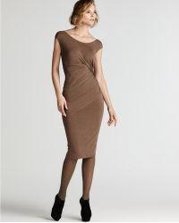 Donna Karan New York Cap Sleeve Draped Dress - Lyst