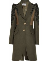 Emilio Pucci - Suede-paneled Embroidered Wool Coat - Lyst