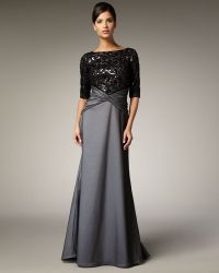 Tadashi Shoji Lace and Sequin Bodice Gown - Lyst