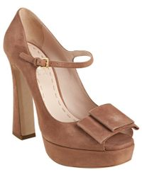 Miu Miu Dusty Pink Suede Bow Detail Mary-jane Platform Pumps - Lyst