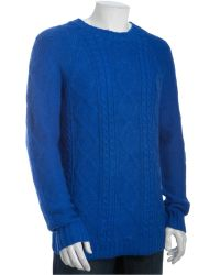 Marc By Marc Jacobs Rich Royal Alpaca-silk Aran Cable Knit Crewneck Sweater - Lyst