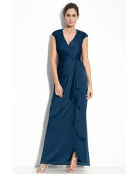 Adrianna Papell Faux Wrap Chiffon Gown - Lyst
