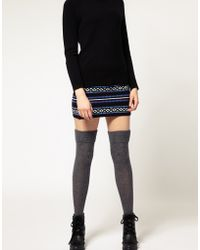 ASOS Collection Wool Cable Over The Knee Socks gray - Lyst