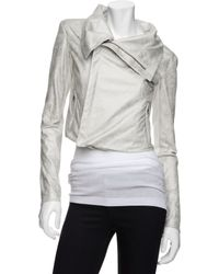 Georgie - Preorder Exclusive Distressed Moto Jacket: White - Lyst