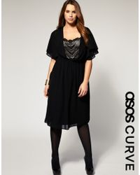 ASOS Collection Asos Curve Dress with Lace Front and Back Panels - Lyst