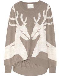 3.1 Phillip Lim Reindeer Merino Wool-blend Sweater brown - Lyst