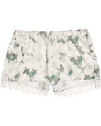 Erdem Catrina Floral-print Silk-satin Shorts - Lyst