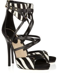 Jimmy Choo Jet Calf Hair and Leather Sandals - Lyst
