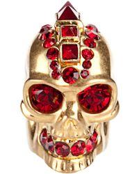 Alexander McQueen Punk Skull Ring gold - Lyst