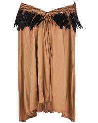 Ann Demeulemeester Feather Trim Dress - Lyst