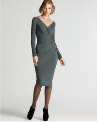 Donna Karan New York Long Sleeve Draped Dress - Lyst