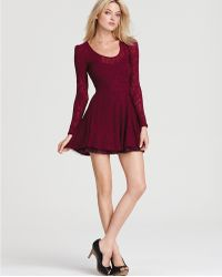 Free People Floral Burnout Puff Sleeve Dress - Lyst