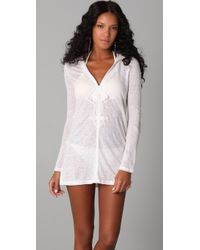 Joie - A La Plage Andy Linen Slub Hooded Cover-up - Lyst