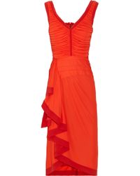 Zac Posen Ruched Crepe-jersey Dress - Lyst