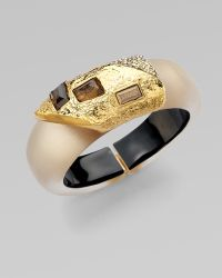 Alexis Bittar Smokey Quartz Crystal Accented Lucite Bangle Bracelet - Lyst