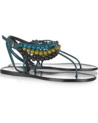 Burberry Prorsum - Beaded Leather Flat Sandals - Lyst