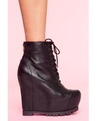 Nasty Gal Lace Up Wedge Boot - Lyst