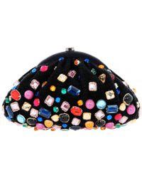 Santi - Black Tweed Multi-stone Clutch Bag - Lyst
