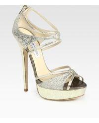 Jimmy Choo Sierra Glitter-coated Snake-print Leather Platform Sandals - Lyst