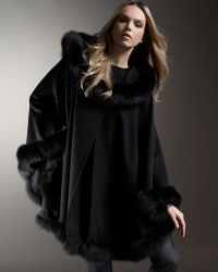 Sofia Cashmere | Fox-trimmed Cashmere Cape | Lyst