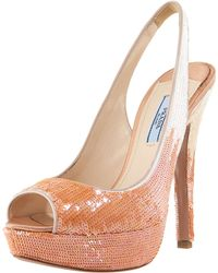 Prada Sequin Degrade Platform Pump - Lyst