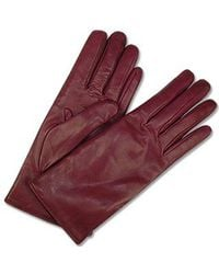Forzieri Women'S Burgundy Cashmere Lined Italian Leather Gloves - Lyst