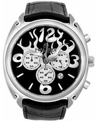 Haurex - Flame - Mens Black Leather Band Chronograph Watch - Lyst