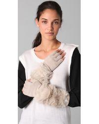 3.1 Phillip Lim Fur Long Fingerless Gloves beige - Lyst