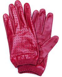 Mango - Holey Leather Gloves - Lyst
