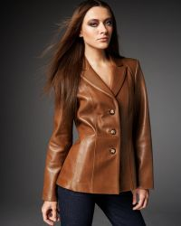 Neiman Marcus - Leather Peplum Blazer - Lyst
