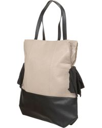 Topshop Cream Zip Bow Shopper Bag - Lyst