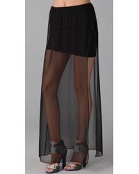 David Lerner - Long Chiffon Skirt with Mini Lining - Lyst