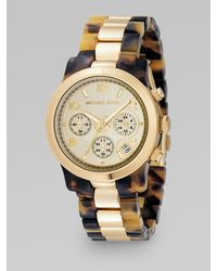 Michael Kors Gold & Tortoise Two-tone Watch - Lyst