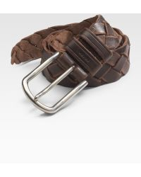 Prada Cuoio Braided Leather Belt brown - Lyst