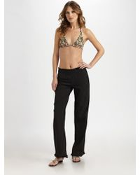 Tori Praver Swimwear Cotton Flare Pants - Lyst