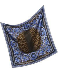 Versace Leopard Print Silk Square Scarf - Lyst